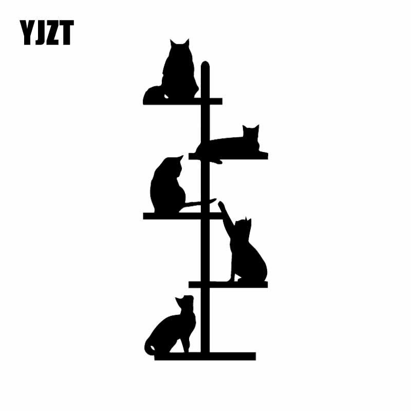 YJZT 6.7X17CM kot drzewo wieża śmieszne śliczny samochód okno naklejka Vinyl samochodów naklejka koty czarny/srebrny C24-1709