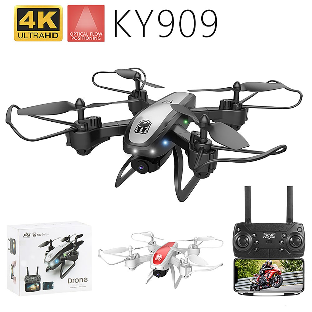 Drone KY909 HD 4K WiFi video live fpv drone light flow keep height quad-axis aircraft one-button take-off drone with camera
