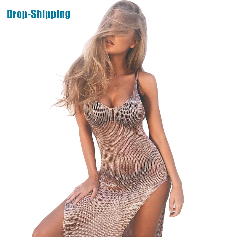 Fashion Mesh Cover Up Sarong Sexy Beach Dress Vestido Crochet Golden Swimsuit Swimwear Women Trend Pareo Bikini Sarong Cover-up