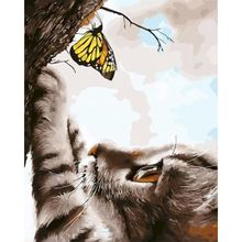 GATYZTORY Cat Catching Butterflies DIY Painting By Numbers Wall Art Picture Canvas By Numbers Handpainted For Home Decors Gift
