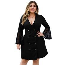 3XL 4XL Autumn Plus size Lace Dress Women Long Sleeve Dress Button V Neck Office Flare Sleeve Dress Big Large Size Party Vestido цена