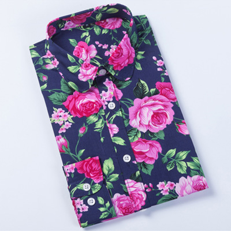 Dioufond Blouse Antumn Cotton Women Shirt Flamingo  Floral Printed Ladies Long Sleeve Tops Vintage Famale Plus Size Casual Shirt