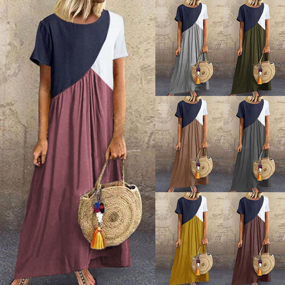 Laamei Women's Dress Short-Sleeve Patchwork Loose Vintage 5XL Sukienki Summer O-Neck