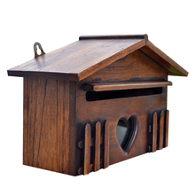 Letter Mailbox Post-Box Wall-Mounted Outdoor Garden-Decoration Lockable Wood Secure Rainproof