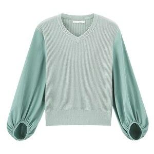 Image 5 - INMAN wiosna nowy nabytek literacki styl V kołnierz połatany praca francuski styl Puff z długim rękawem sweter z dzianiny