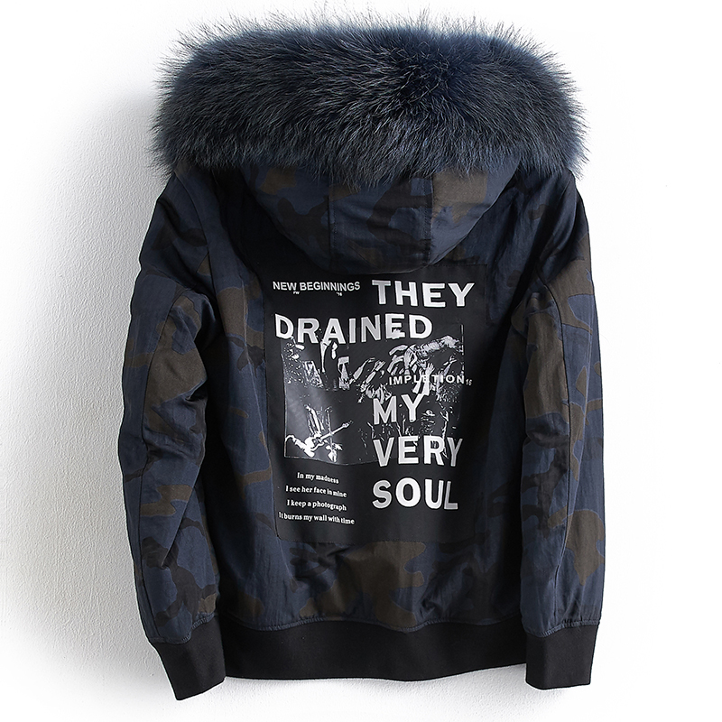 Short Parka Real Fur Coat Men Natural Rabbit Fur Liner Jacket Male Racoon Fur Hooded Plus Size Parkas C567A17096 KJ1111