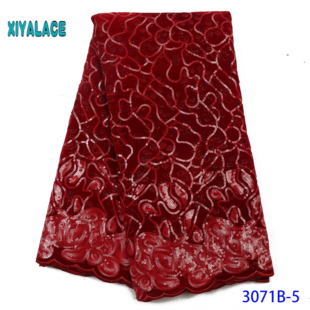 Latest Wine Red Color African Lace Fabric With Sequins 2019 High Quality French Tulle Lace Fabric For Woman Dres YA3071B-5