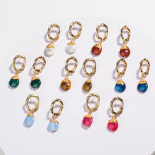 Charms Gold Color Letters O Dangle Earrings For Women 2019 New Natural Stone Elegant Drop Earrings Fashion Jewelry все цены