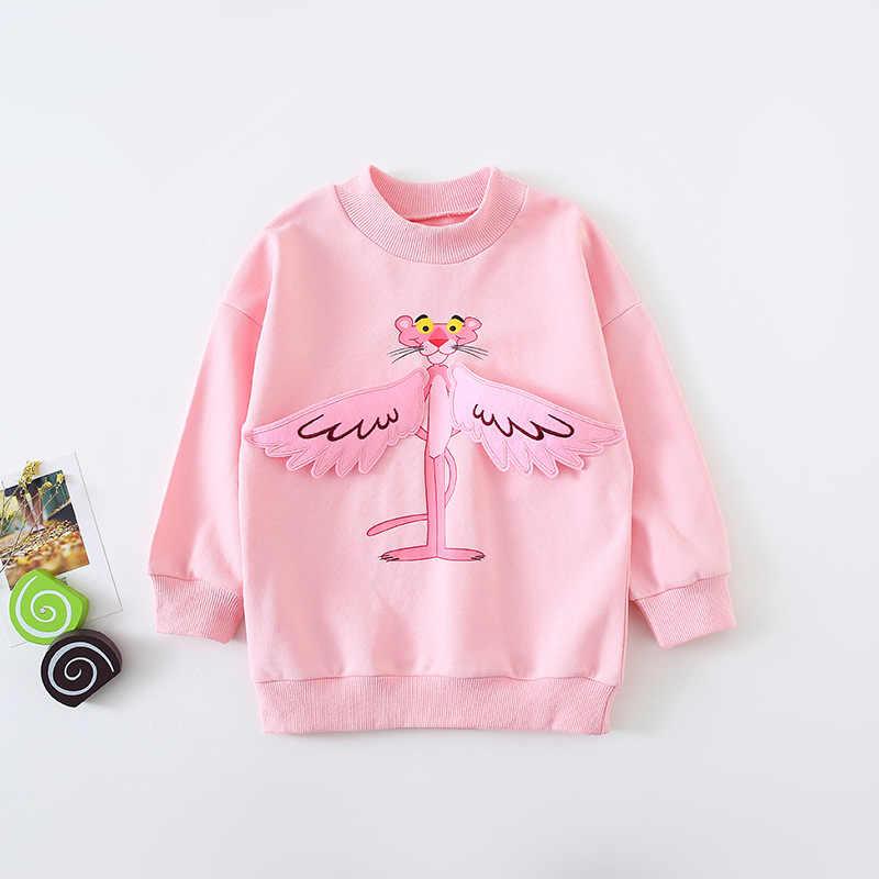 2019 sonbahar yeni varış kore tarzı pamuk pembe leopar desen uzun tarzı rahat moda hoodie sevimli tatlı bebek kız