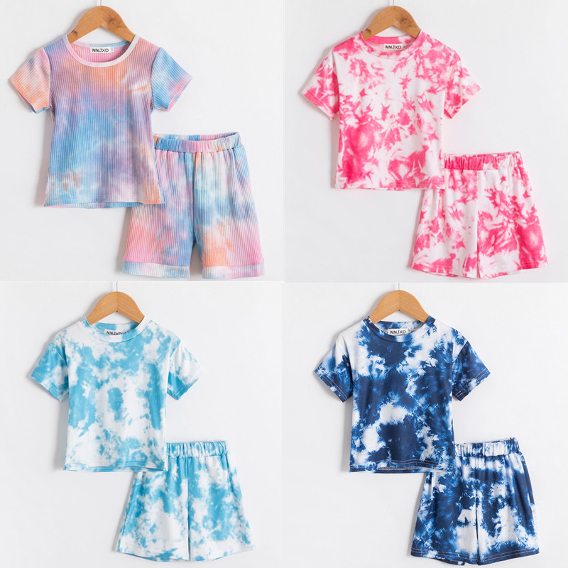 Toddler Girls Summer Short Sleeve Clothes Set Colorful Tie Dye Printed T-shirt+Pants Solid 1 2 3 4 5 Years Baby Kids Outfits