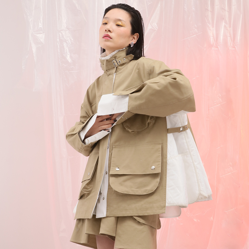IRINAL06 2019 FW Collection oversized patchwork safari style women   trench   coat