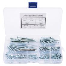 140pcs M4.2 Stainless Self Tapping Screws Flat Head Self-drilling Self-tapping Drilling Tail Screw Set  Nut