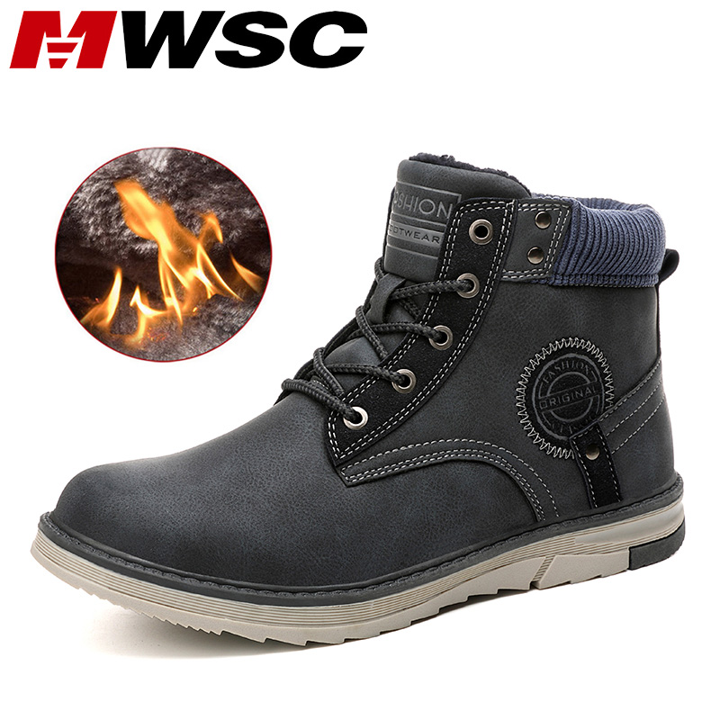 MWSC Brand Men Snow Boots Winter Warm Fur Lining Ankle Boots For Men Male Outdoor Waterproof Shoes Men Non-slip Snow Shoes Boots