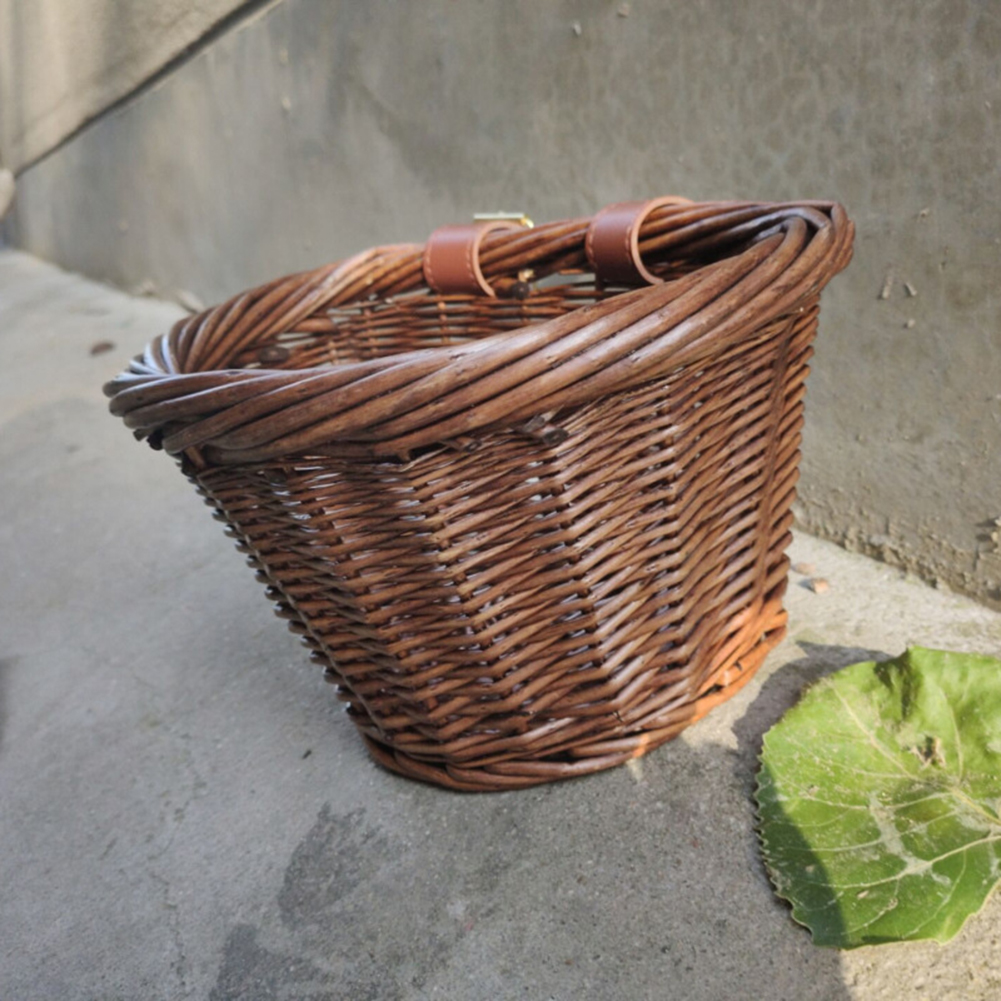 Vintage Wicker Bike Basket Brown Leather Adjustable Strap Bicycle//Cycle//Shopping