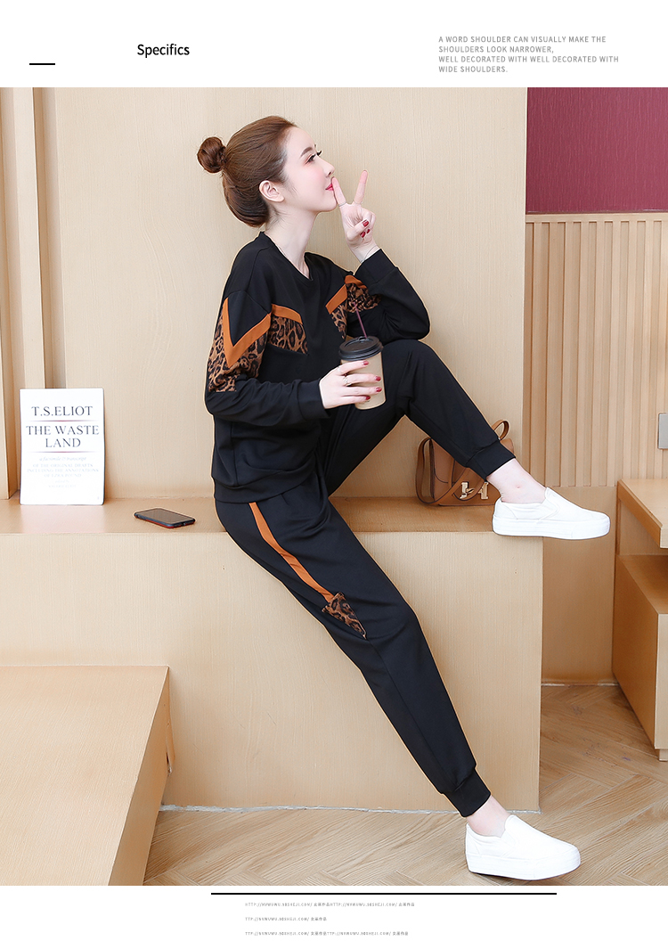 Black Leopard Print Two Piece Sport Tracksuits Sets Women Plus Size Korean Sweatshirt And Pants Suits Casual Fashion Outfits 41