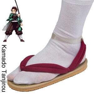 Image 2 - Обувь для косплея по японскому аниме Demon Slayer Kimetsu No Yaiba, танджиру, сандалии Kamado Nezuko Geta, сабо Agatsuma Zenitsu, шлепанцы