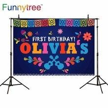 Funnytree фотографический фон Мексика 1 й Праздник День Рождения Вечеринка синий баннер Студия фото фоны photophone фотосессия