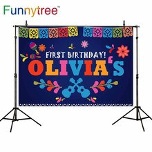 Funnytree photographic background mexican 1st Festival birthday Party blue banner studio photo backdrops photophone photocall