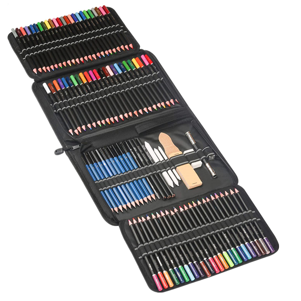 96 pieces Painting, Drawing & Art Supplies Set - Colored Drawing Pencils Set - Sketching, Graphite Pencils with Portable Case