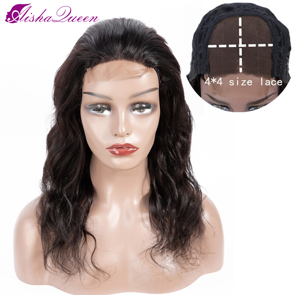 Aisha Queen 4x4 Lace Closure Wig Body Wavy Human Hair 150% Density Lace Wigs Natural Color Remy Peruvian Hair 8-26 Inch