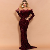 Sparkle Mermaid Evening Dresses Off Shoulder Long Sleeve Sweep Train Sequined Women Formal Prom Party Gowns suknie wieczorowe