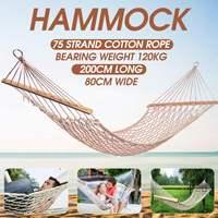 1 2 Person Portable Outdoor Hammock White Mesh Cotton Rope Swing Hammock for Porch Beach Indoor Patio Hammock for Bedroom