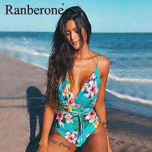 Новый сексуальный женский бикини Цельный купальник с цветочным принтом Ретро стринги с высокой талией купальник с открытой спиной Глубоки...