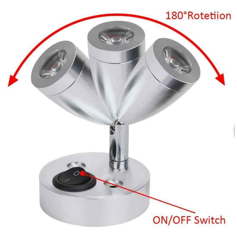 2 piezas Luz de pared LED 12V Interruptor de luz de lectura de punto LED Camper Van Caravan Van Barco Autocaravana Luz Luz c/álida
