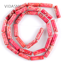 Natural Stone Red Sea Sediment Jaspers Column Beads For Jewelry Making 4*13mm Charm Spacer Diy Bracelet Necklace 15