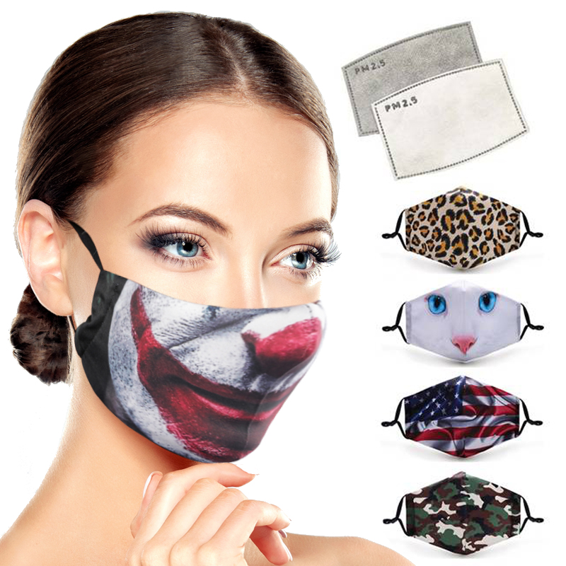 Fashion Funny Pattem Printed Mouth Mask PM2.5 Filter Reusable Protective Face Mask Anti Dust Windproof Mouth-muffle