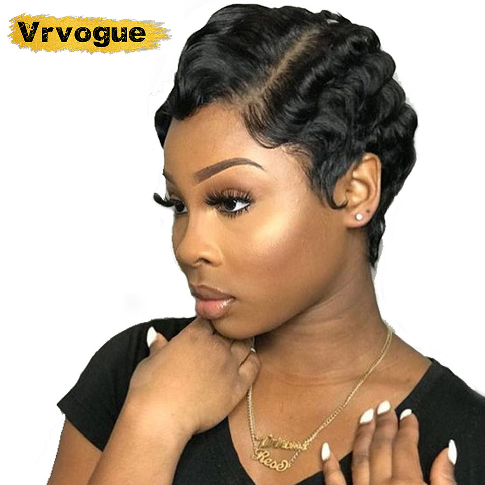 Cheap Human Hair Wigs Short Wigs For Black Women Brazilain Pixie Cut Wig 8 Inch Finger Wave Non-Remy Free Shipping Vrvogue