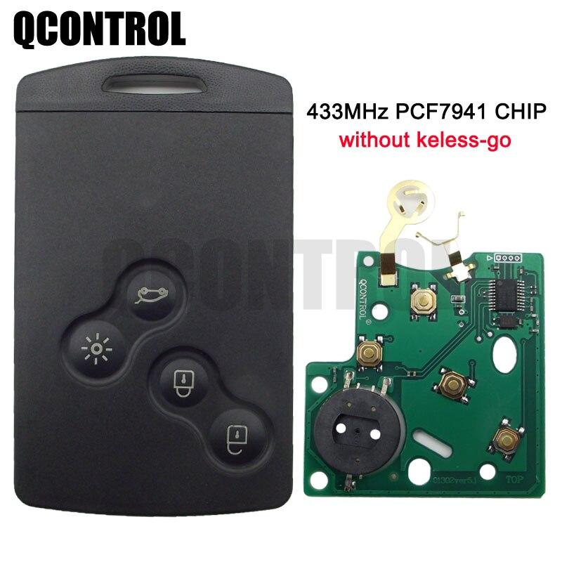 Автомобильный пульт дистанционного управления QCONTROL с 4 кнопками, подходит для Renault Megane 433 МГц, чип PCF7941 без ключа-go