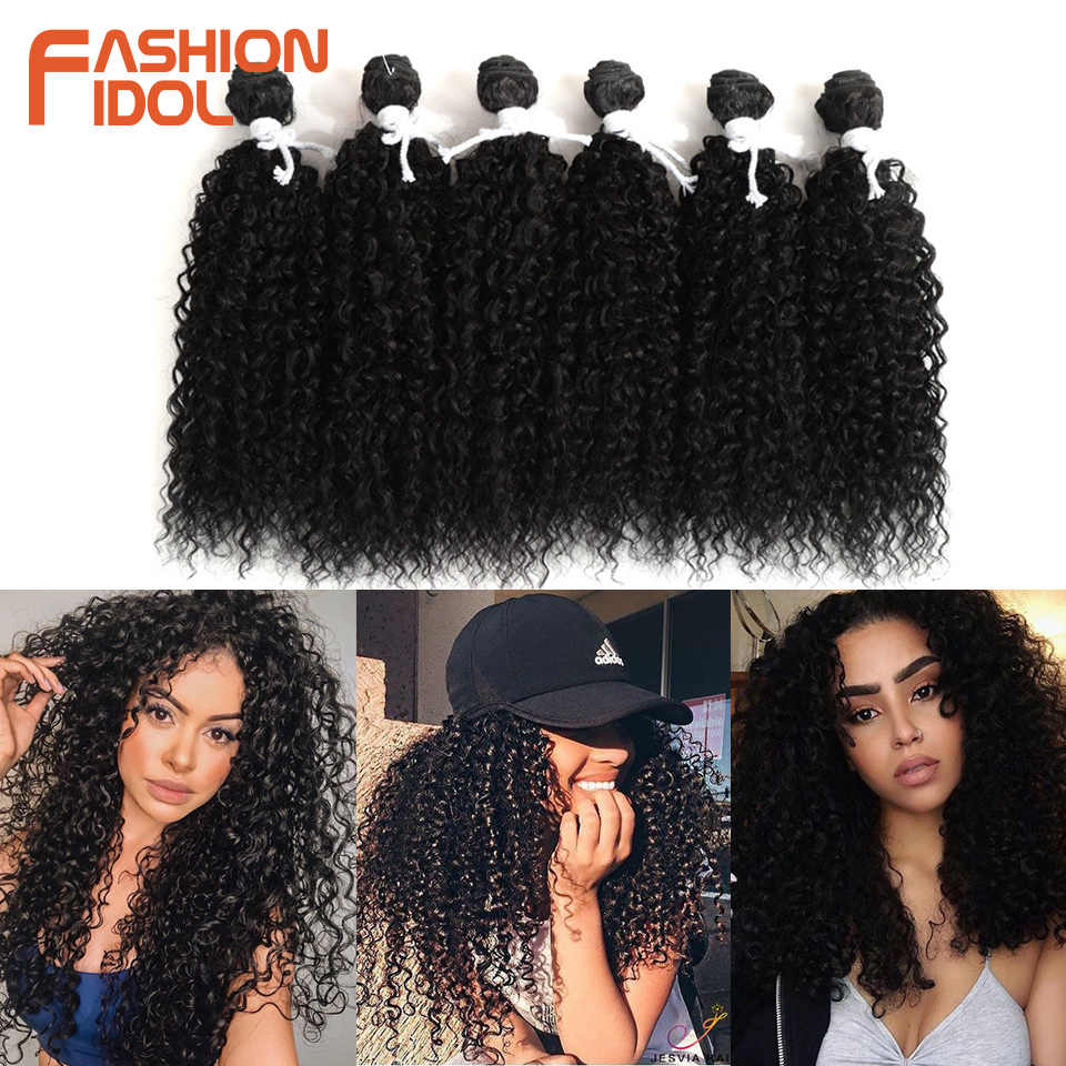 FASHION IDOL Synthetic Hair Bundles Afro Kinky Curly Hair Extensions 14 inch 6Pcs/lot Brown Ombre Weave Hair Synthetic Fiber