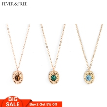 Fever&Free 2019 Hot Sale Women Temperament Natural Stone Necklace 5 Colors Dainty Delicate Pendant Choker Jewelry Gifts