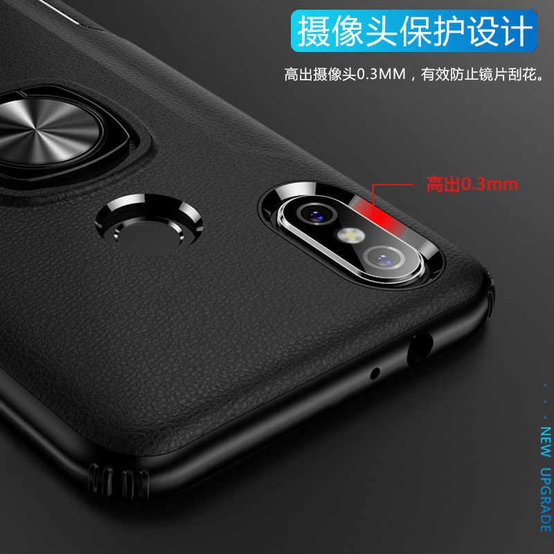 Case For Xiaomi Poco F1 MI 9 6X A2 8SE PC Leather Case Magnet Car Holder Cover For Redmi Note 7 Pro Rugged Armor Coque