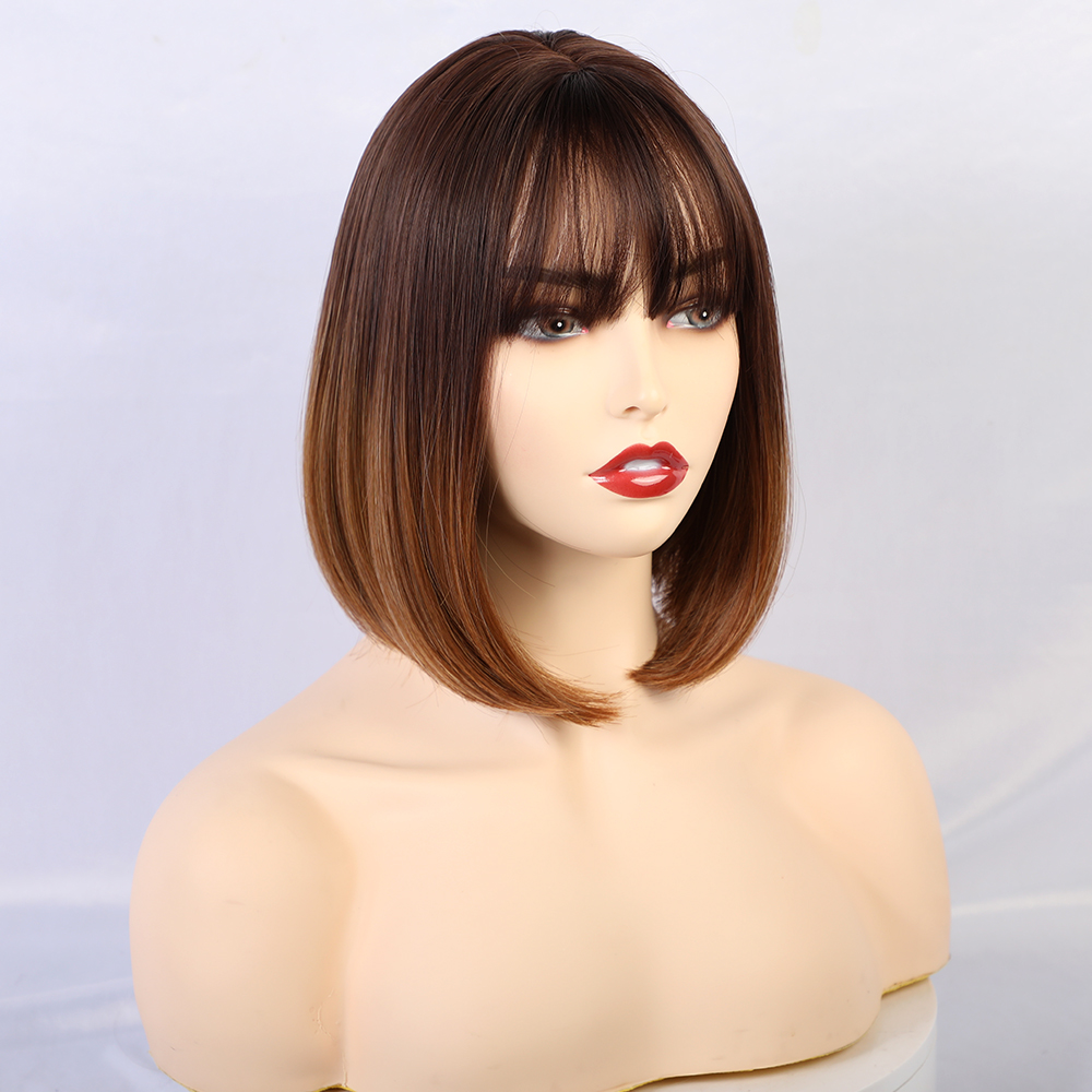TINY LANA Short Straight Synthetic Wig with Bangs for Women Brown Blonde Bob Wig Heat Resistant lolita Cosplay Wigs 7 Color