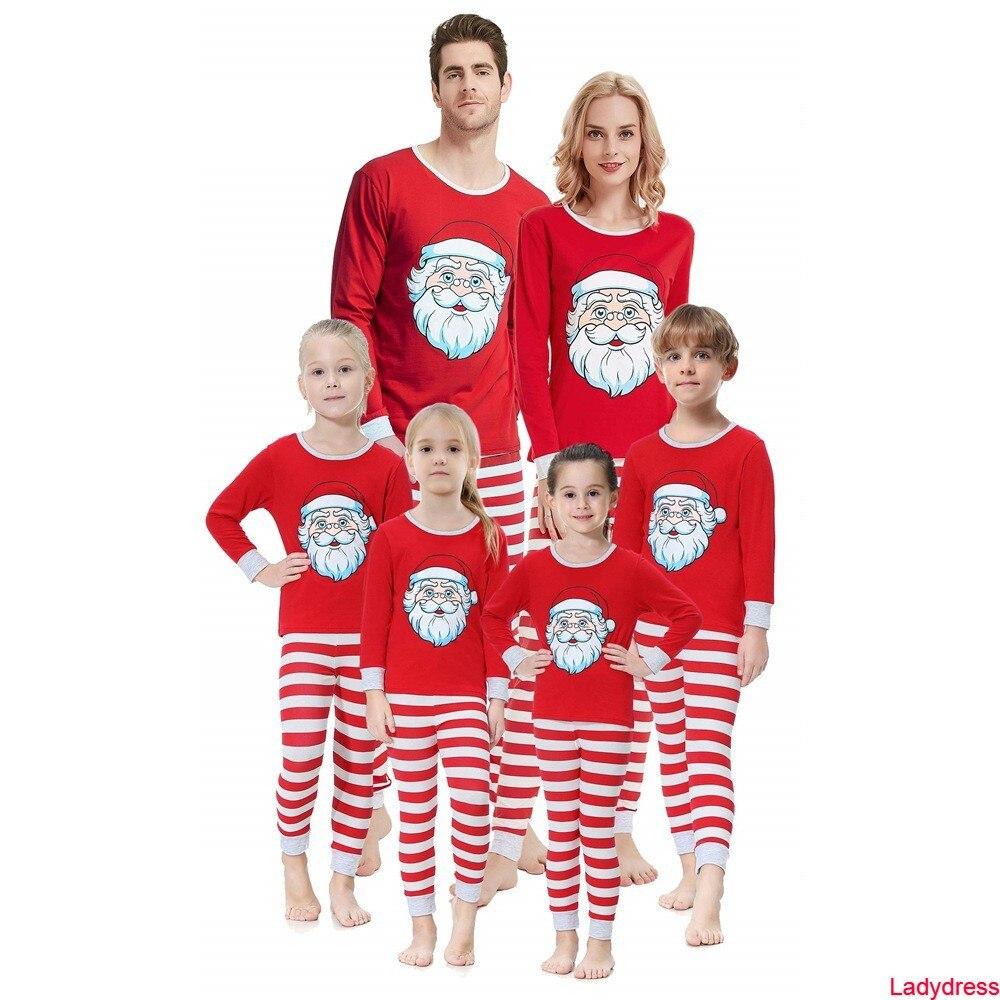 2020 new Red Stripe Family Matching Christmas Pajamas Set Winter Santa Claus Print Sleepwear Boys Girls Men Women Family Matchin