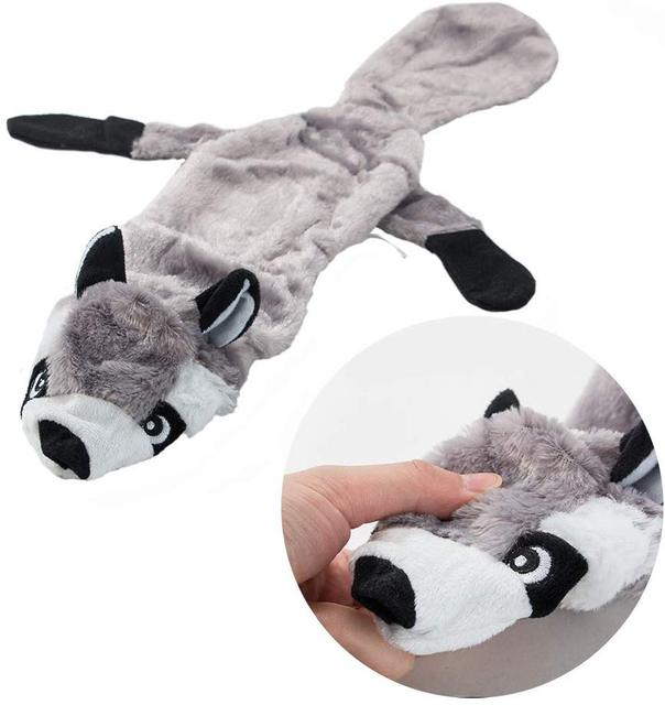ANSINPARK cute plush toys squeak pet Wolf rabbit stuffed animal dog chew whistle squeaky wrapped squirrel dog toys p999