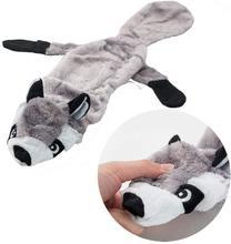 ANSINPARK لطيف ألعاب من القطيفة صرير الحيوانات الأليفة الذئب أرنب محشوة الحيوان الكلب مضغ صافرة صار ملفوفة السنجاب الكلب لعب p999