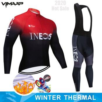 Ineos pro equipe de inverno velo térmico ciclismo roupas dos homens manga longa camisa terno equitação ao ar livre bicicleta mtb roupas bib calças conjunto 1