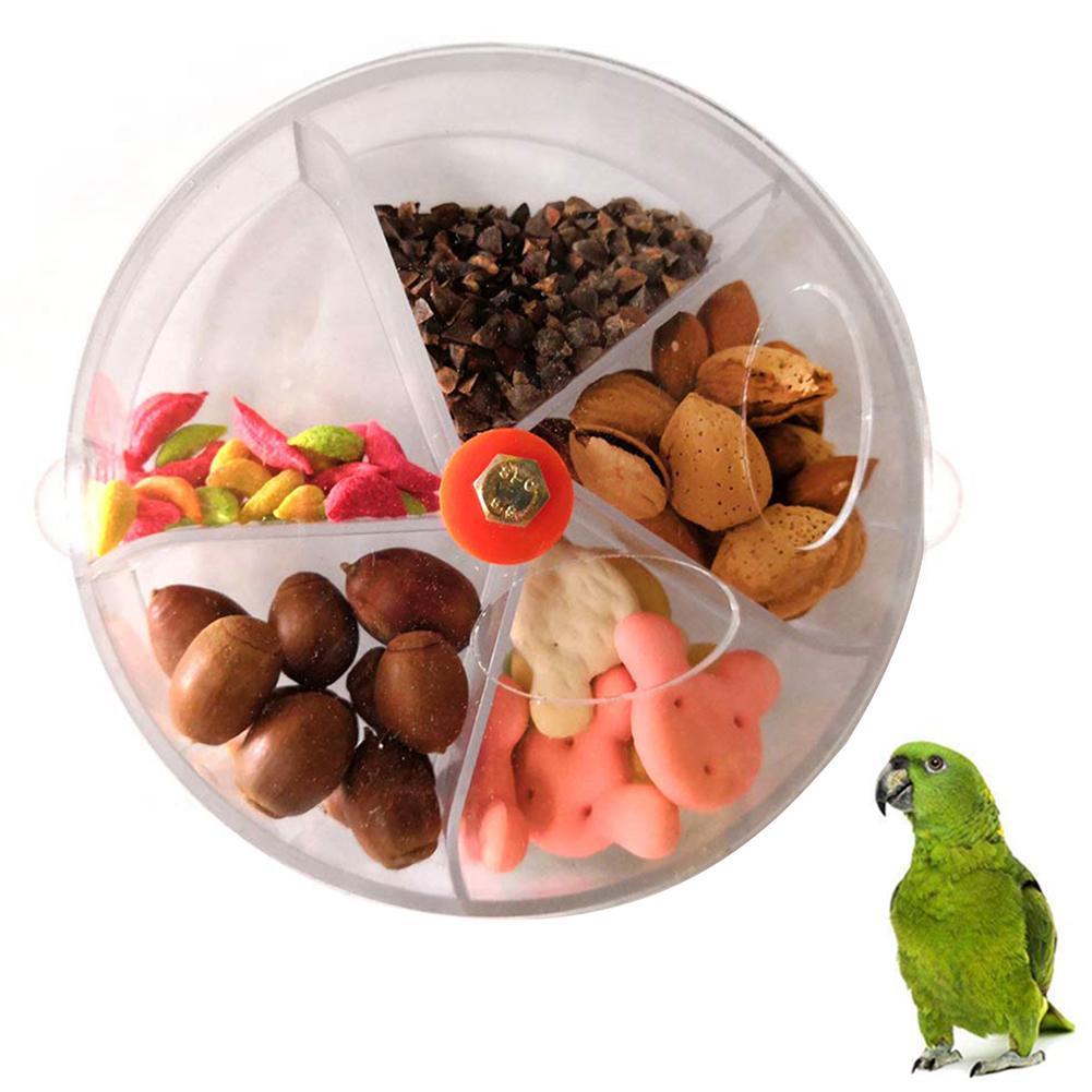 5 grade engraçado animal de estimação pássaro alimentador papagaio recipiente de armazenamento de alimentos transparente pendurado forraging rotativa pássaro tigela de alimentos brinquedo do jogo