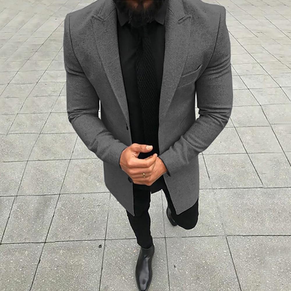 Vogue Nice Winter Men Slim Woolen Coat Luxury High Quality Thick Warm Single-breasted Business Casual Coat Jacket Men Coats