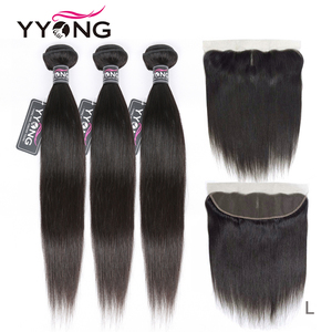 Image 1 - YYong Hair 3 Bundles Brazilian Straight Hair Bundles With Closure Pre Plucked 13*4 Ear To Ear Lace Frontal Closure With Bundles
