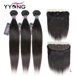 Yyong feixes de cabelo liso 3 pacotes, cabelo brasileiro com fechamento pré-selecionado 13*4 ouvido à orelha frontal fechamento com pacotes