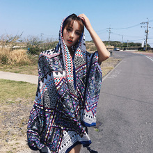 PzWxWzl Bohemian Print Hijab Scarf 2019 Women Spring Summer Spain Style Vintage Ethnic Long Printed Muffler Cape