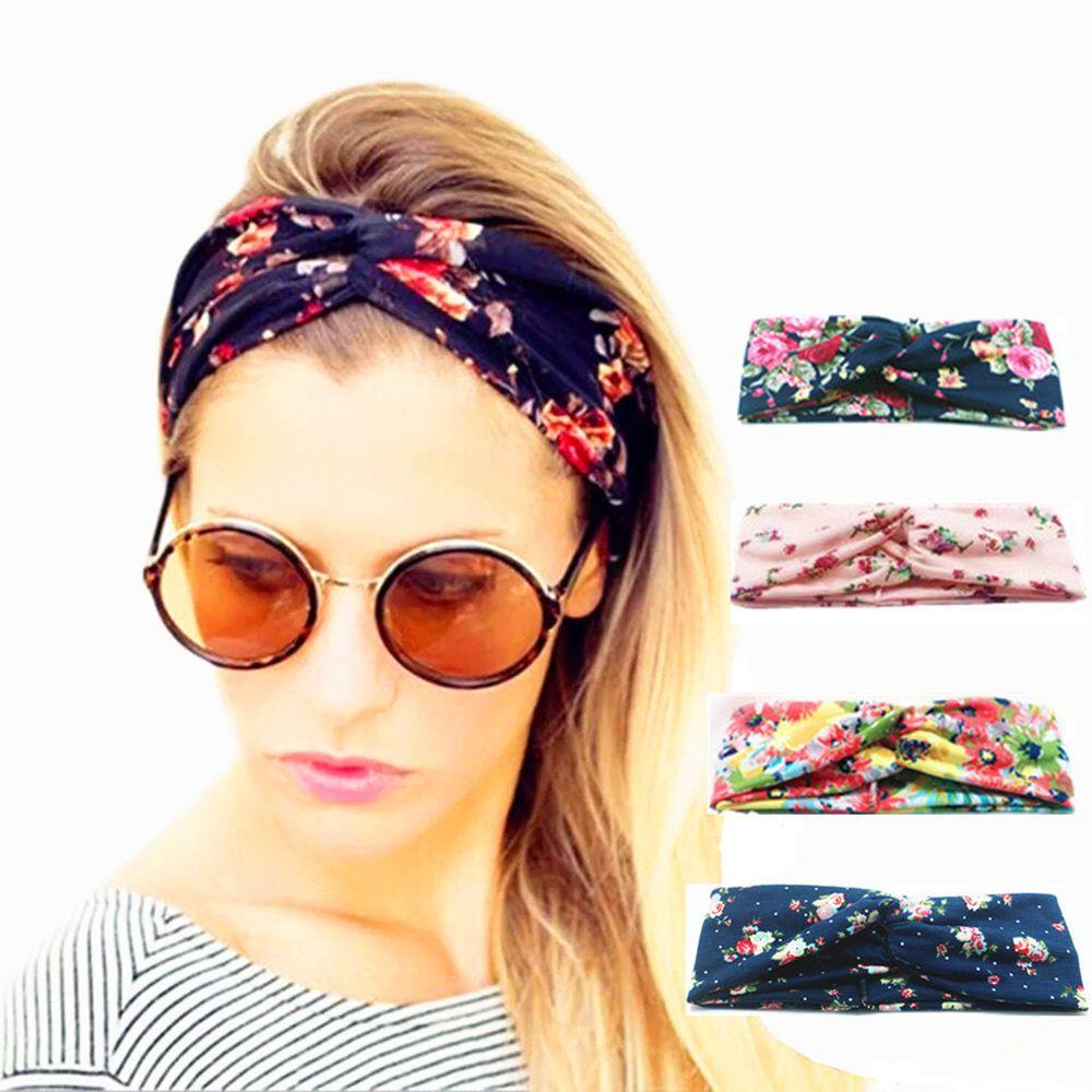 Print Cotton Women Hair Hoop Band Bows Elastic Headkerchief Sport Hairbands Head Band Knot Headbands For Girls Headwear Headwrap