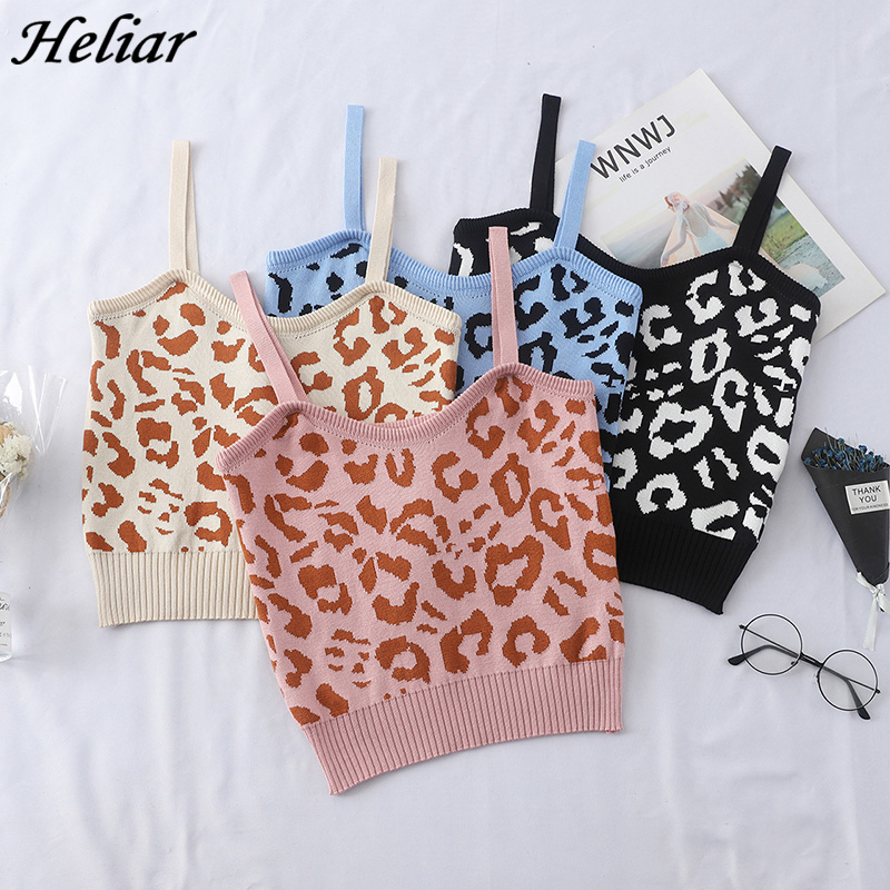 HELIAR 2020 New Women Leopard Crop Tops Ladies Knitted Tank Tops Casual Slim Sleeveless Vest Night Club Spaghetti Camisoles