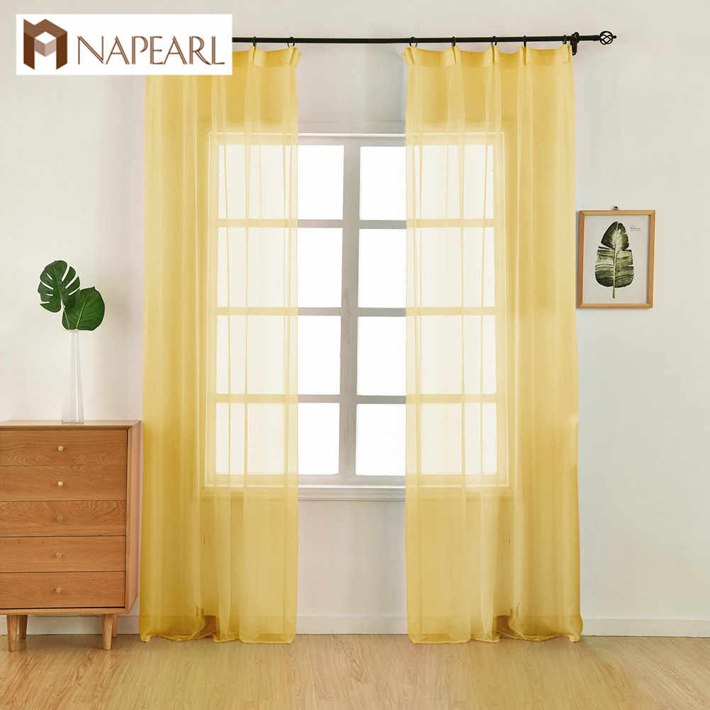 NAPEARL 1 Piece Transparent Voile Tulle Curtains All Match Home Decor Bedroom Windows Draperies Modern Sheer Solid Color Design