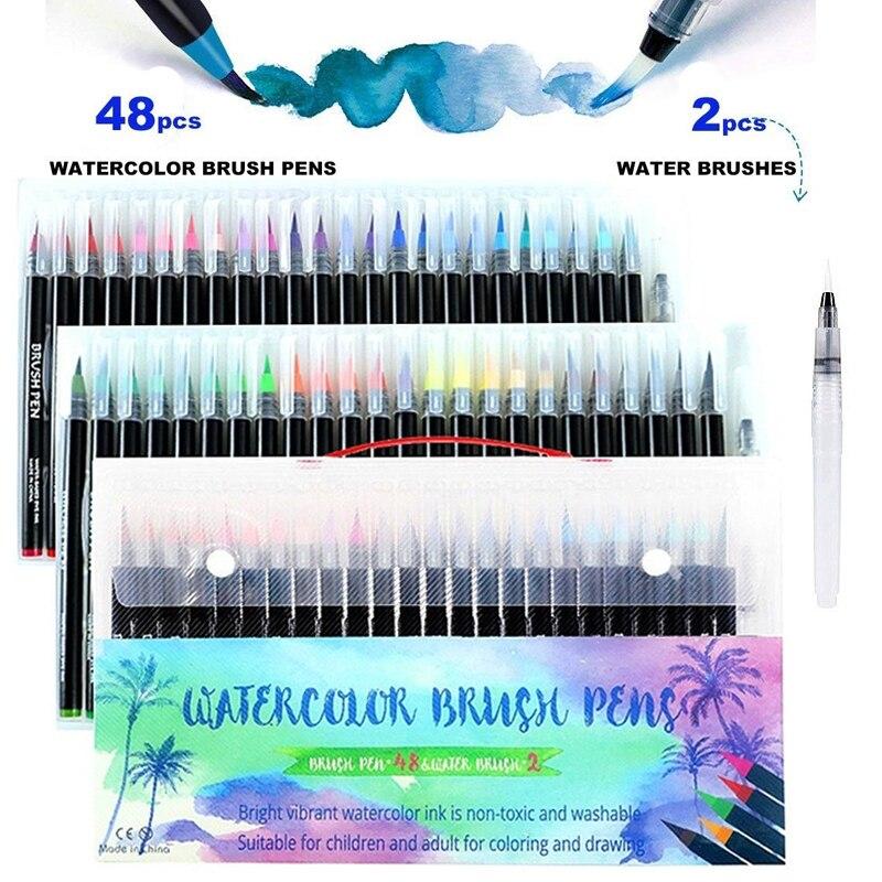 48 couleurs aquarelle pinceau stylos Art marqueur stylos pour dessin coloriage livres Manga calligraphie fournitures scolaires papeterie