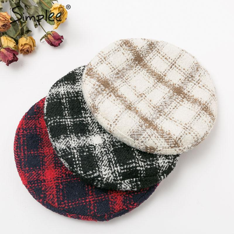 Simplee Retro Plaid Women Tweed Beret Hat 2019 Fashion Female Winter Painter Caps Casual Lace Up Autumn Warm Ladies Hats Beanie